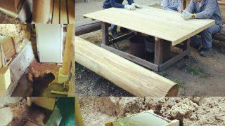 【DIYクリエーターズ】コンクリートの基礎 と 排水溝の再発掘、アースオーブン二層目の完成・・そして丸太椅子