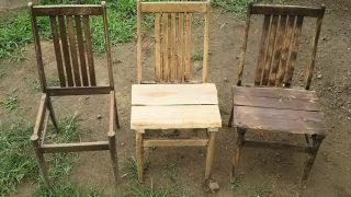 【DIYクリエーターズ】古い椅子をリフォームして、シャビ―なアンティーク風チェアーに変身!アースオーブンカフェ用に【焼き板】